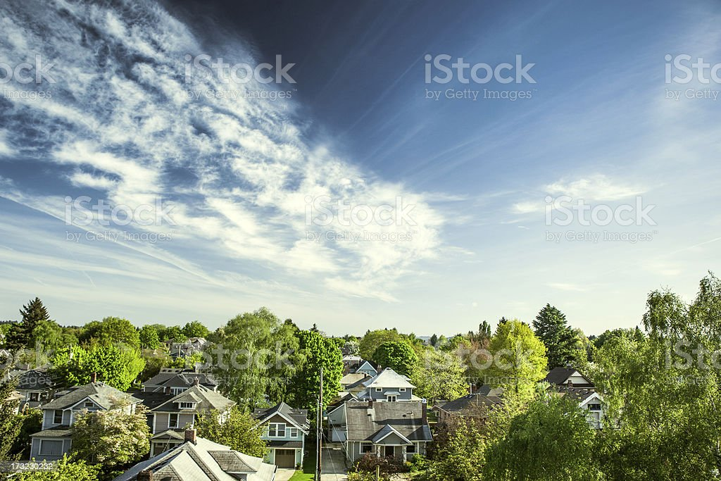 Green Portland Homes stock photo