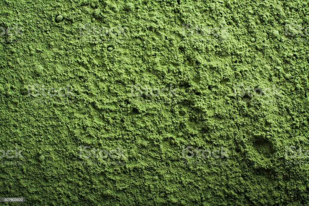 Green power background. Wallpaper of barley grass powder. stock photo