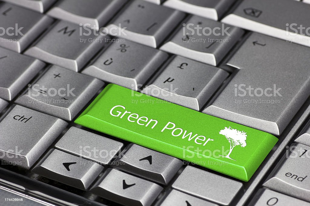 green power on a keyboard key stock photo