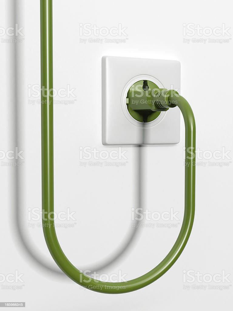 Green power plug royalty-free stock photo