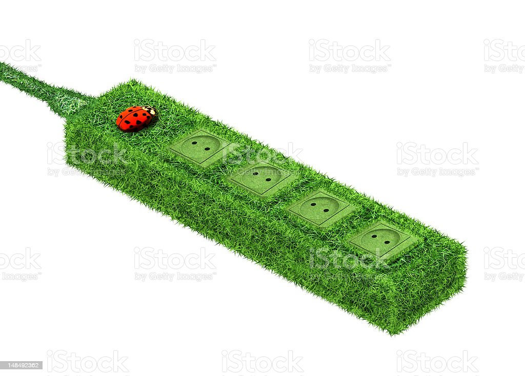 Green power socket stock photo