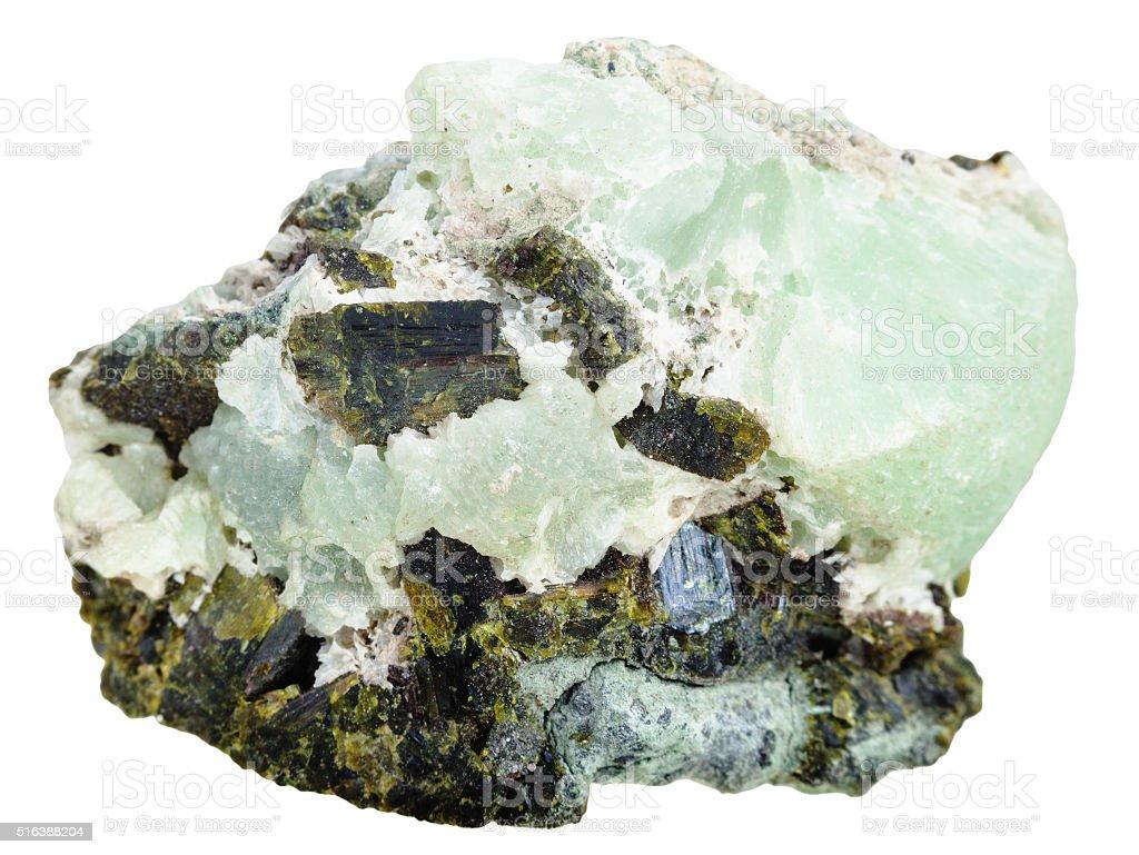 green Prehnite mineral stone and Epidote crystals stock photo