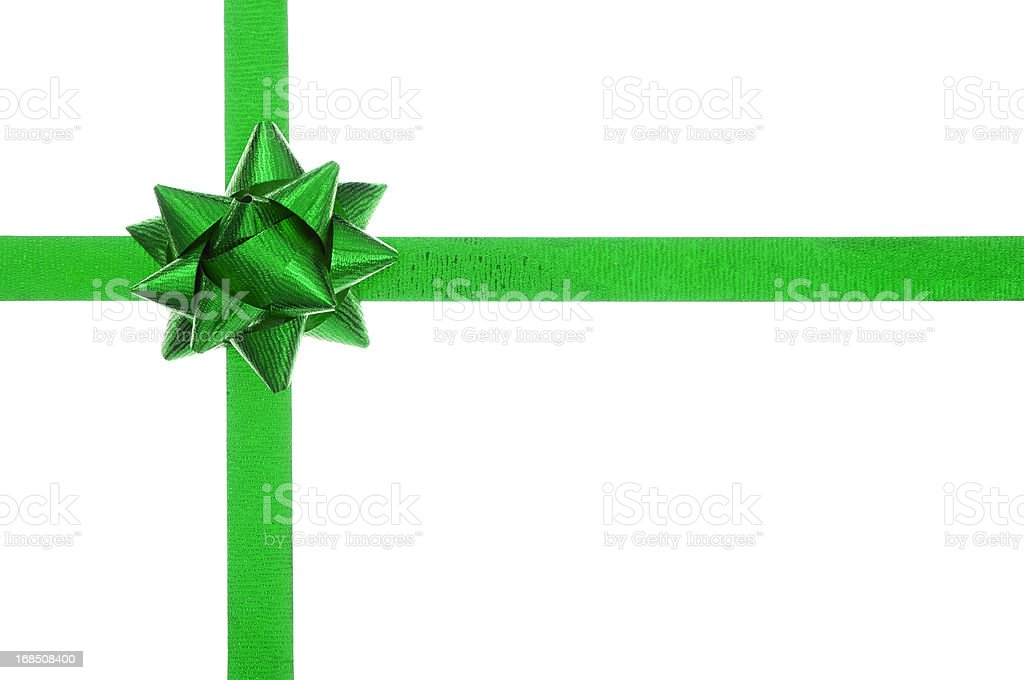 Green present bow and ribbon on white stock photo