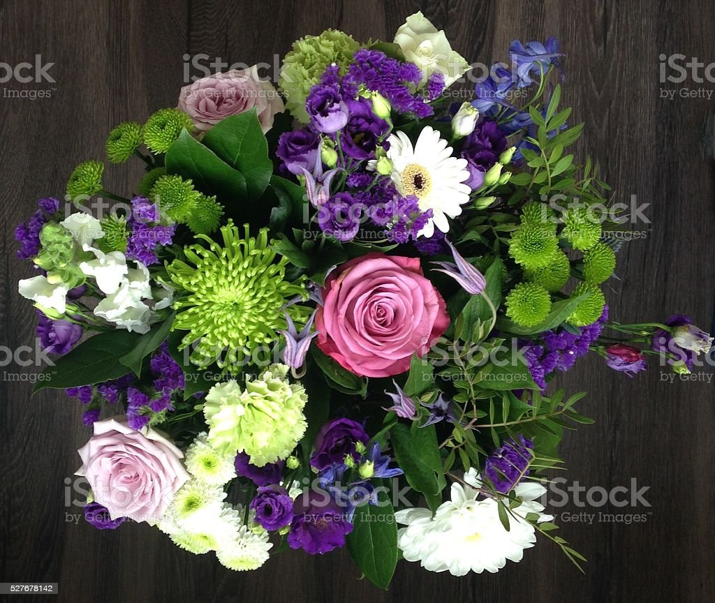 Green Purple and Blue Bouquet stock photo