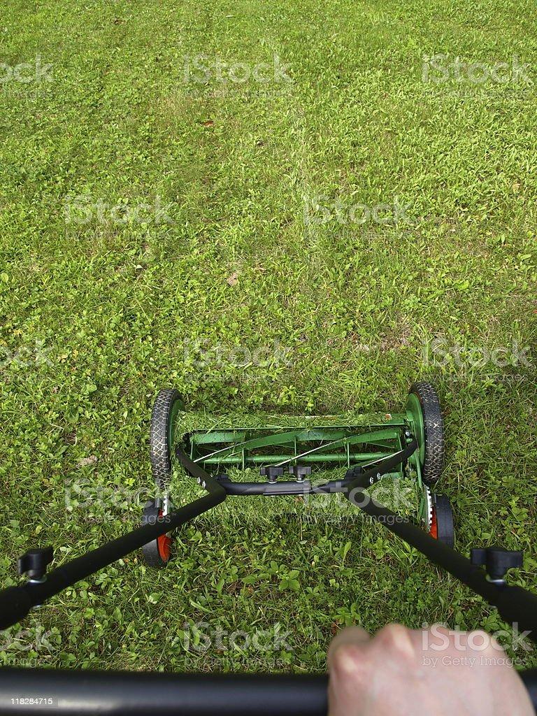 Green Push Reel Lawn Mower stock photo