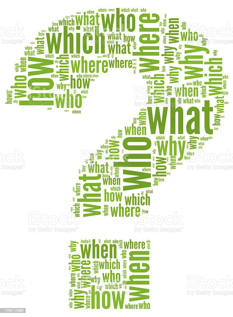 Green question mark with questions inside stock photo