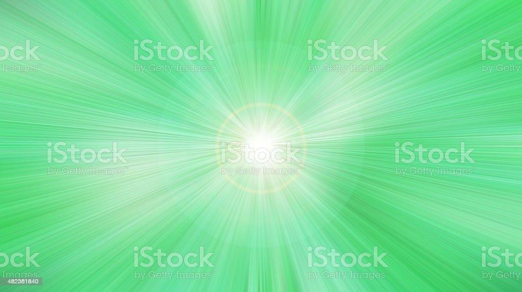 Green radial luminous background. stock photo