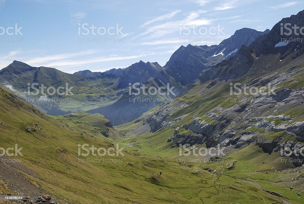 Green ravine in the central Pyrenees. stock photo