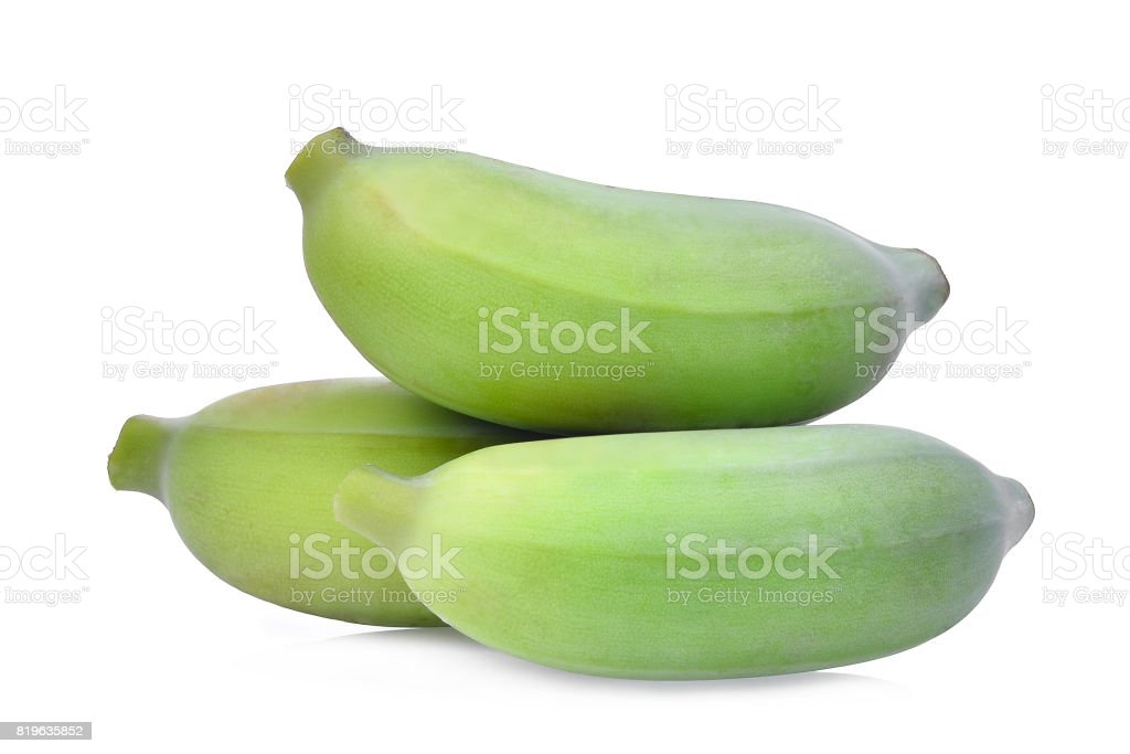 green raw cultivated banana isolated on white background stock photo