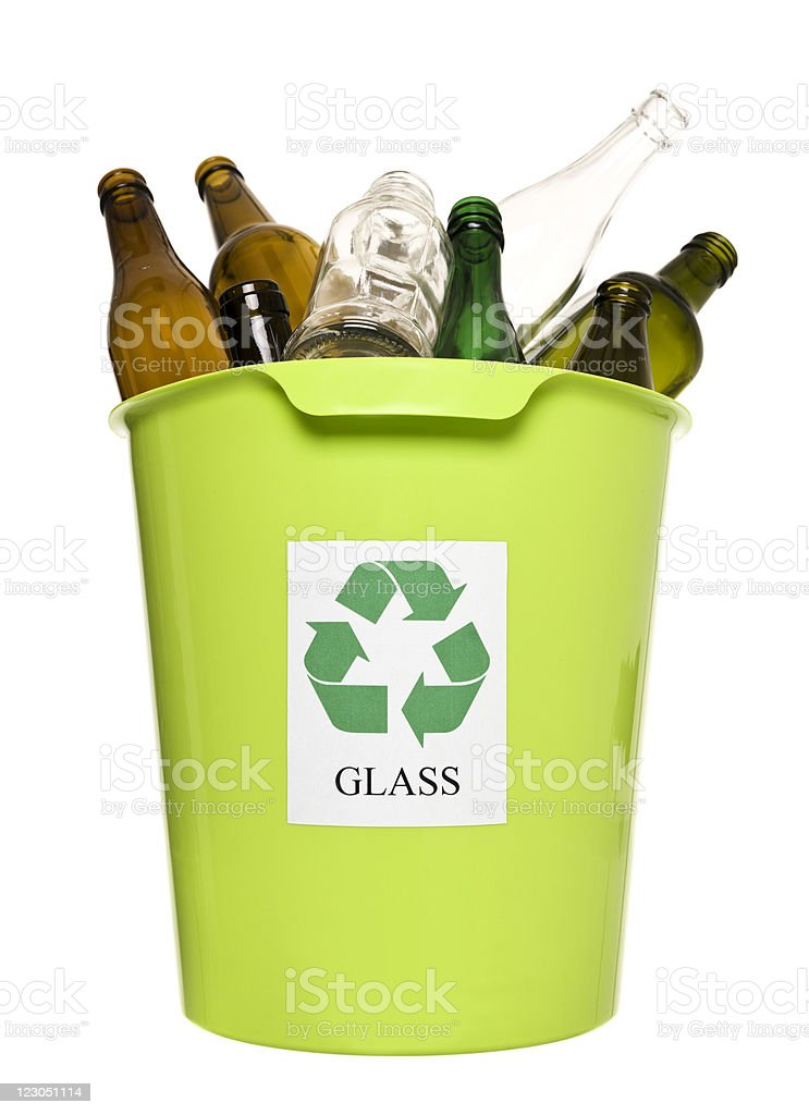 Green recycling bin with glass stock photo