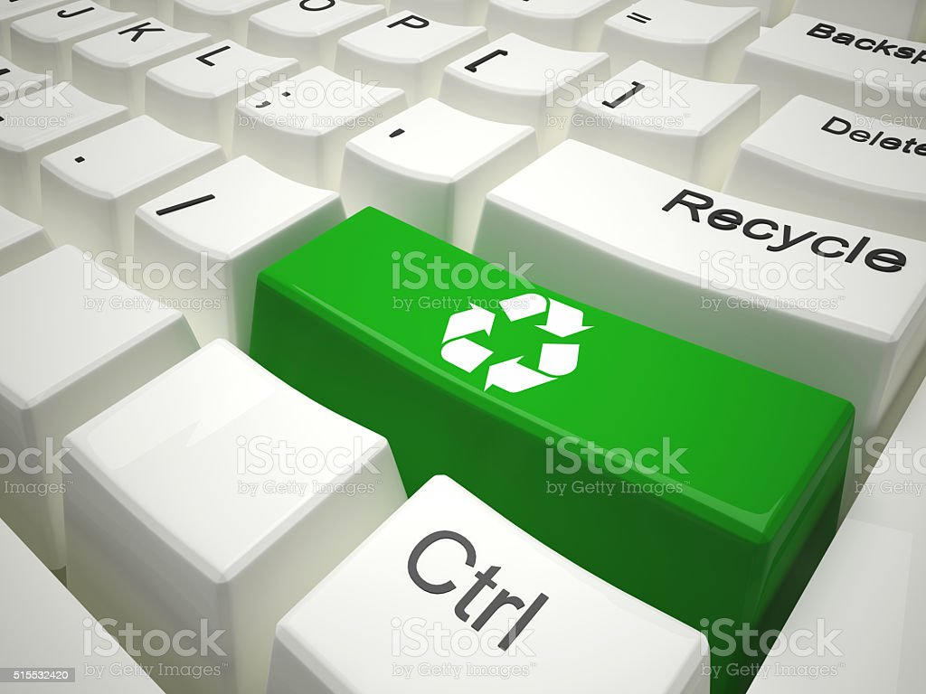 Green recycling keyboard stock photo