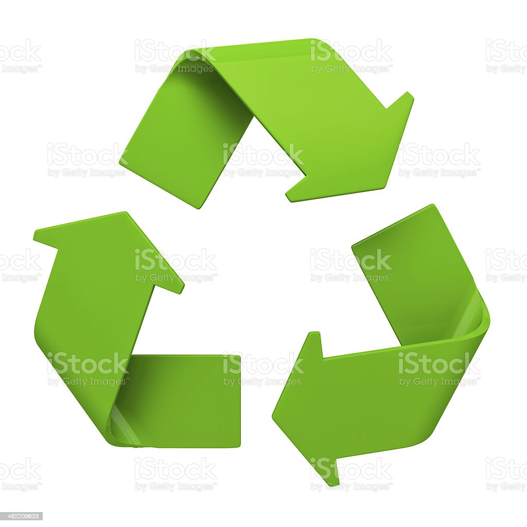 Green recycling symbol on white stock photo