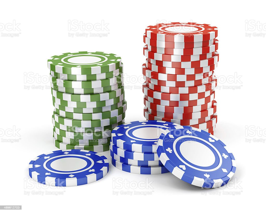 Green, red and blue casino tokens stock photo