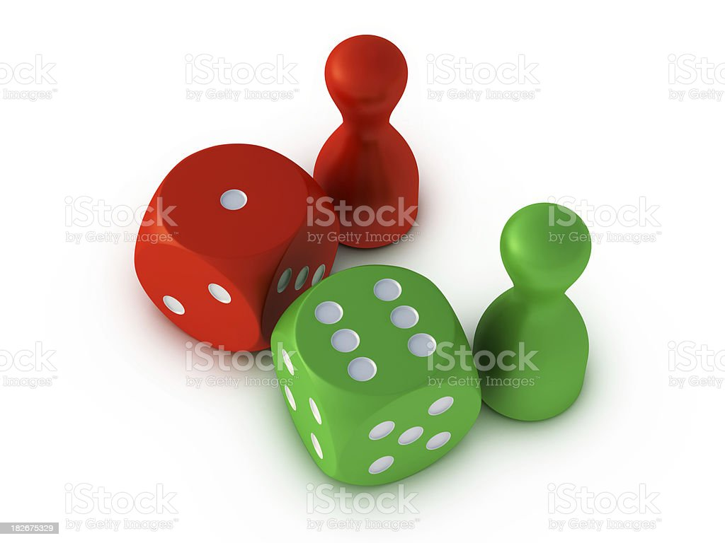 Green Red Dice Pawn Comparison royalty-free stock photo