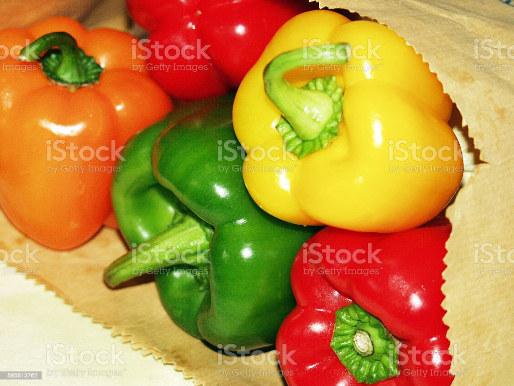 Green, Red, Yellow, Orange peppers! stock photo