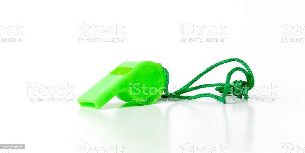 green referee whistle, sport theme stock photo