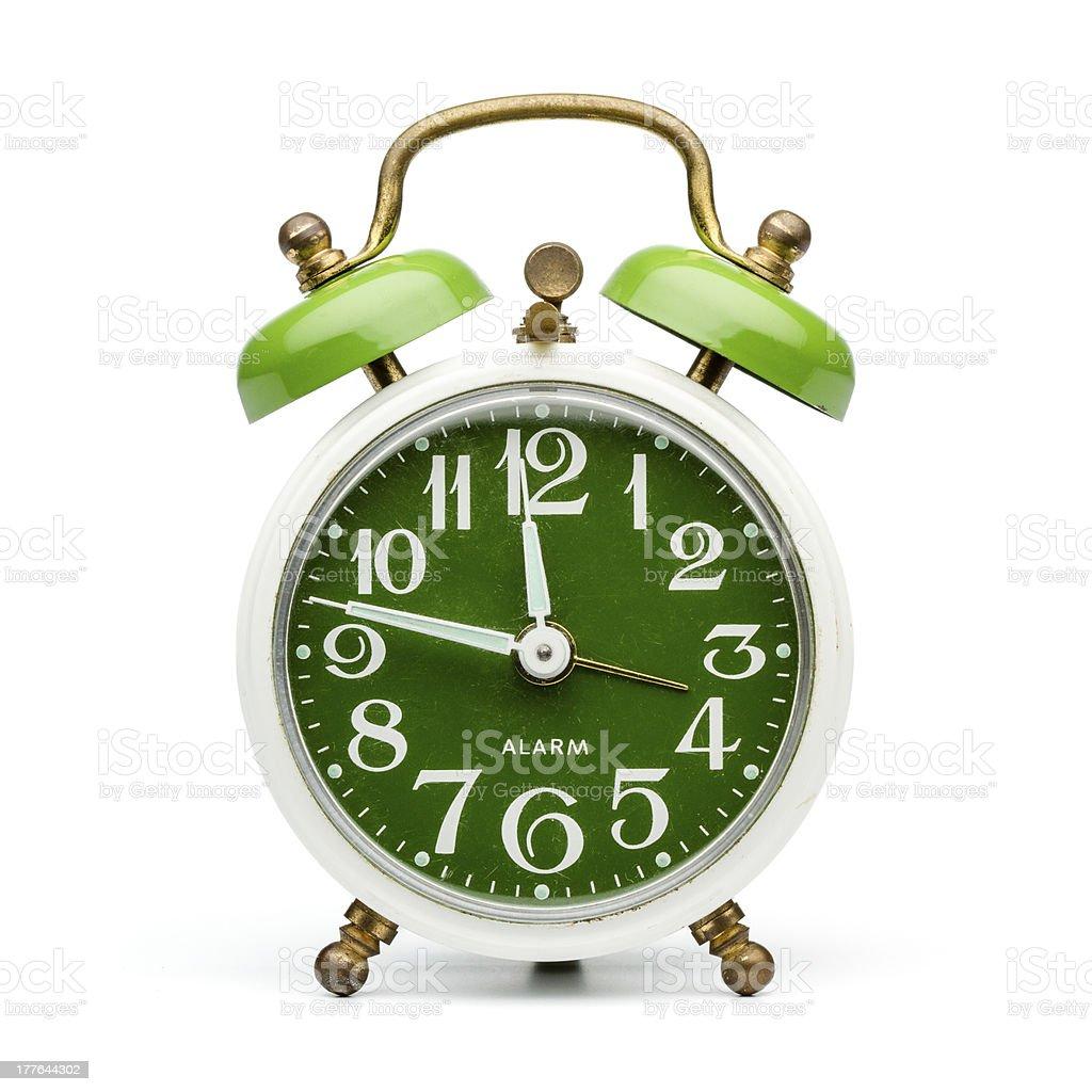 Green retro alarm clock royalty-free stock photo