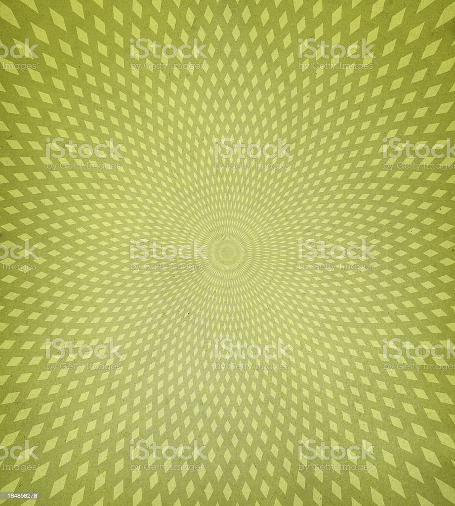 Green retro background with diamond spiral pattern stock photo
