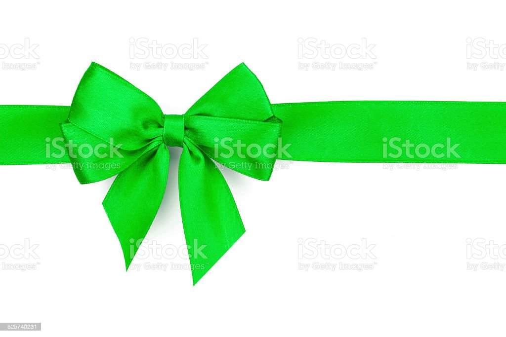 Green ribbon with bow stock photo