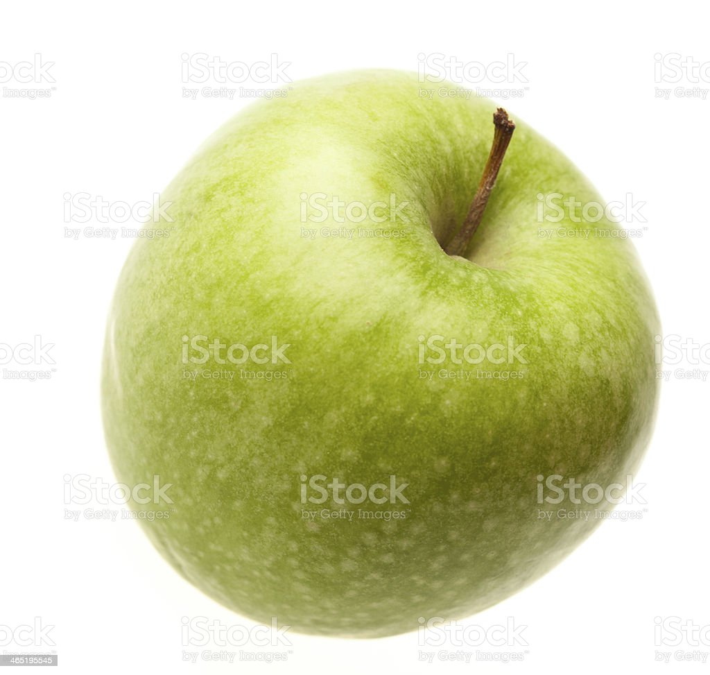 Green ripe apple isolated stock photo