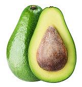 Green ripe avocado isolated on white background