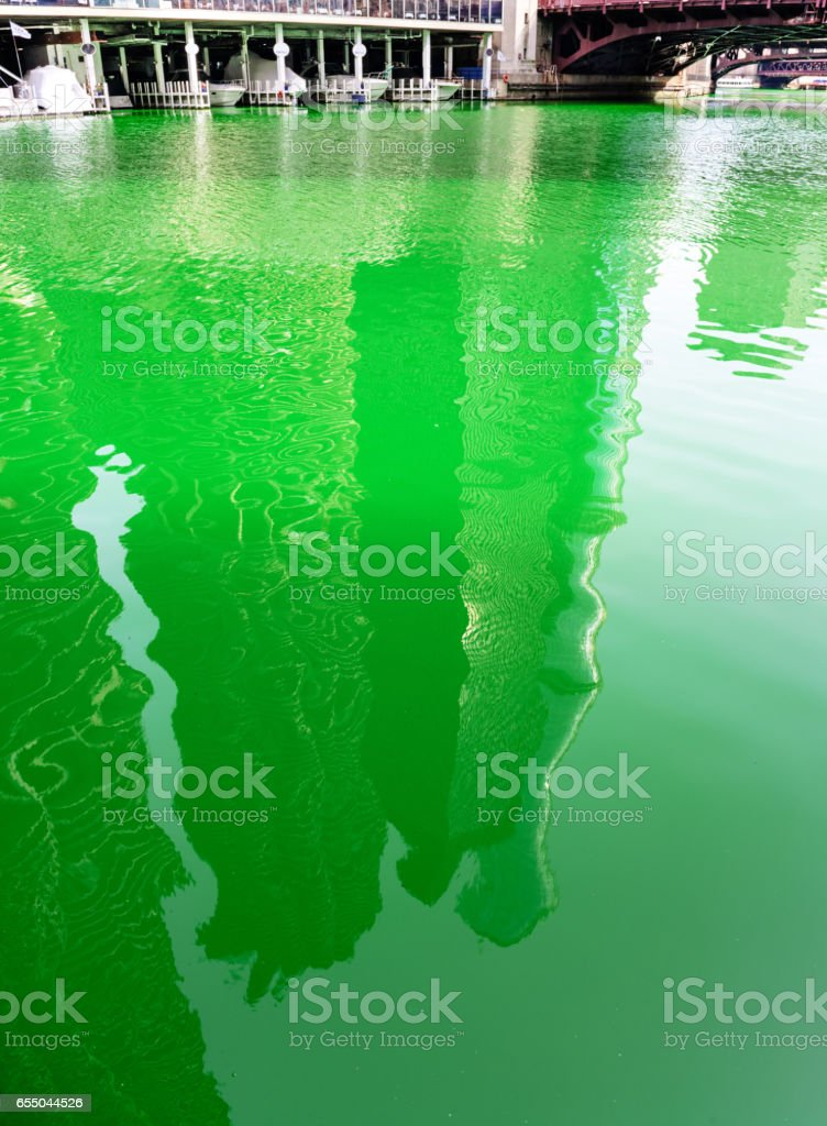 Green River, downtown Chicago,  St. Patricks Day Celebration stock photo