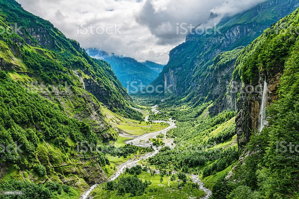 Green river valley canyon wide summer panorama Alpine mountain landscape stock photo