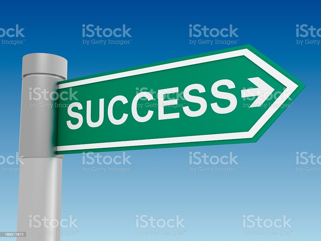Green road sign arrow with success written on it royalty-free stock photo