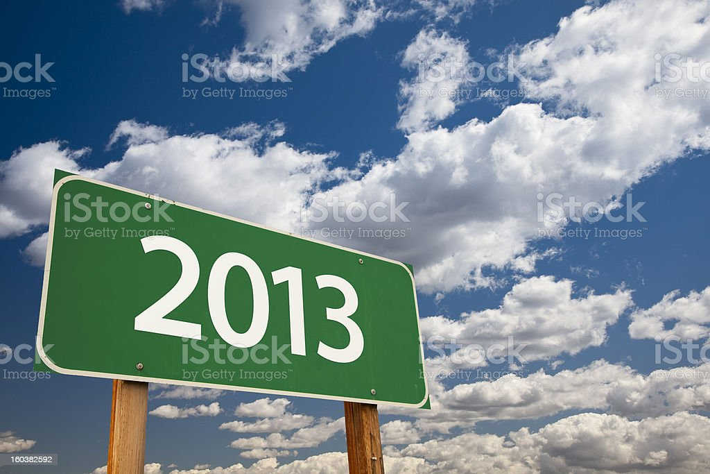 2013 Green Road Sign stock photo