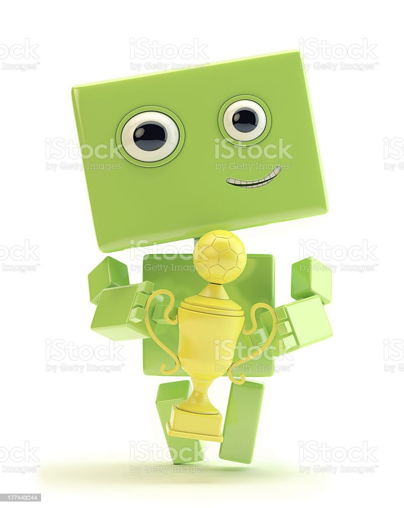 Green robot with football cup royalty-free stock photo
