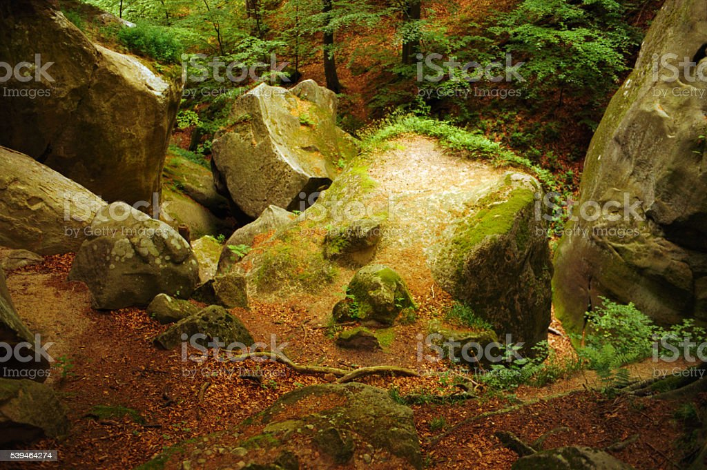 Green rock in the mountains. stock photo