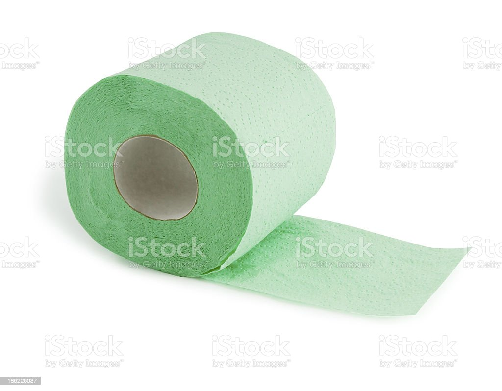 Green roll of toilet paper isolated on white royalty-free stock photo