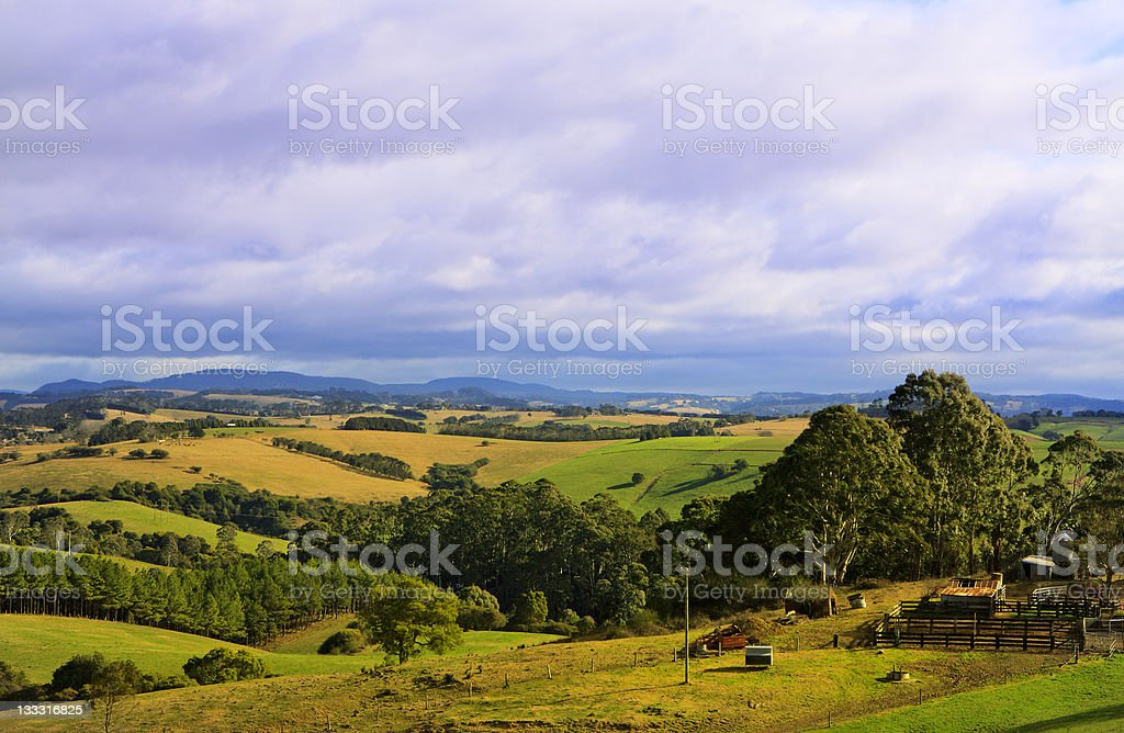 Green rolling farmland hills under an overcast cloudy sky stock photo