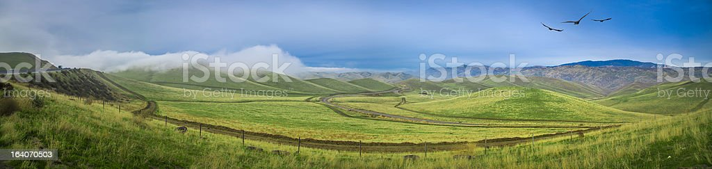 Green Rolling hills with fluffy clouds royalty-free stock photo