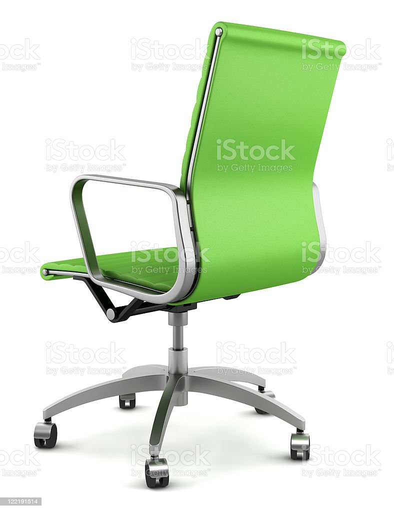 Green rolling office chair isolated on white background royalty-free stock photo