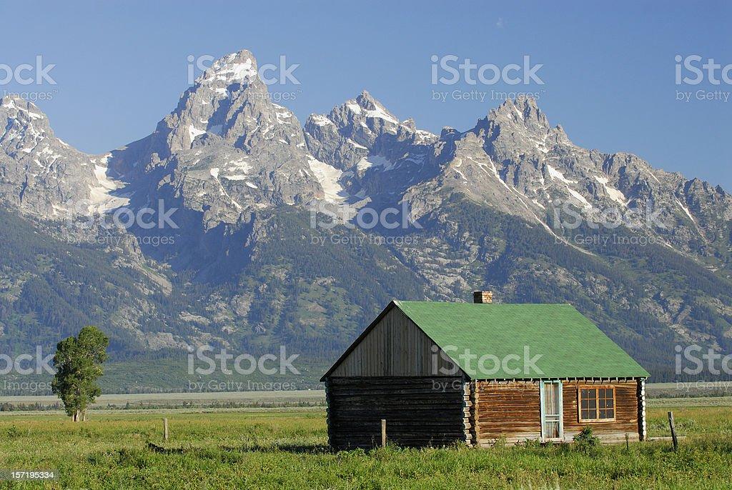 Green Roof House and Teton Range royalty-free stock photo