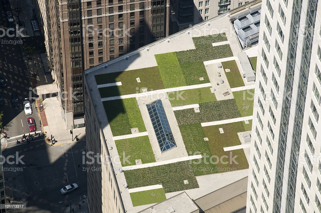 Green Roof in Chicago stock photo