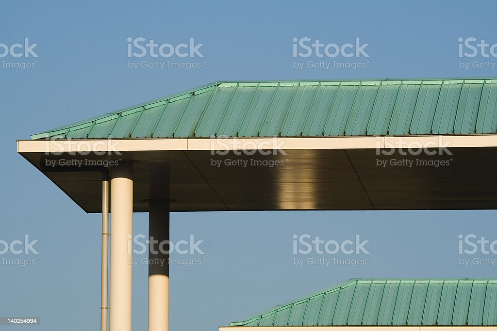 Green roofs in blue sky royalty-free stock photo