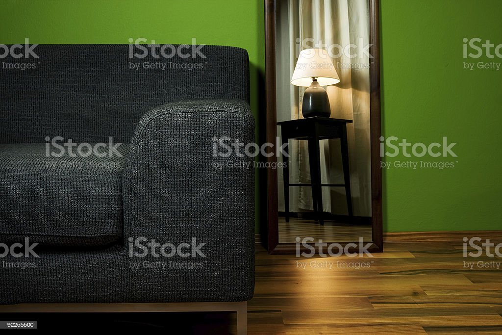 Green room with sofa royalty-free stock photo