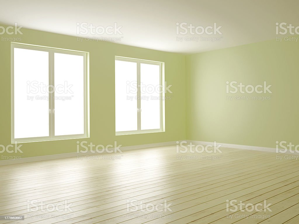 Green room with two windows royalty-free stock photo