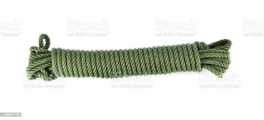 Green rope isolated stock photo