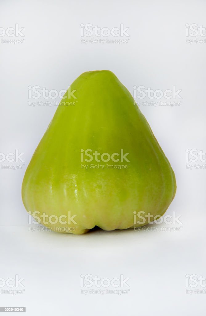 Green rose apple close up isolated white background stock photo