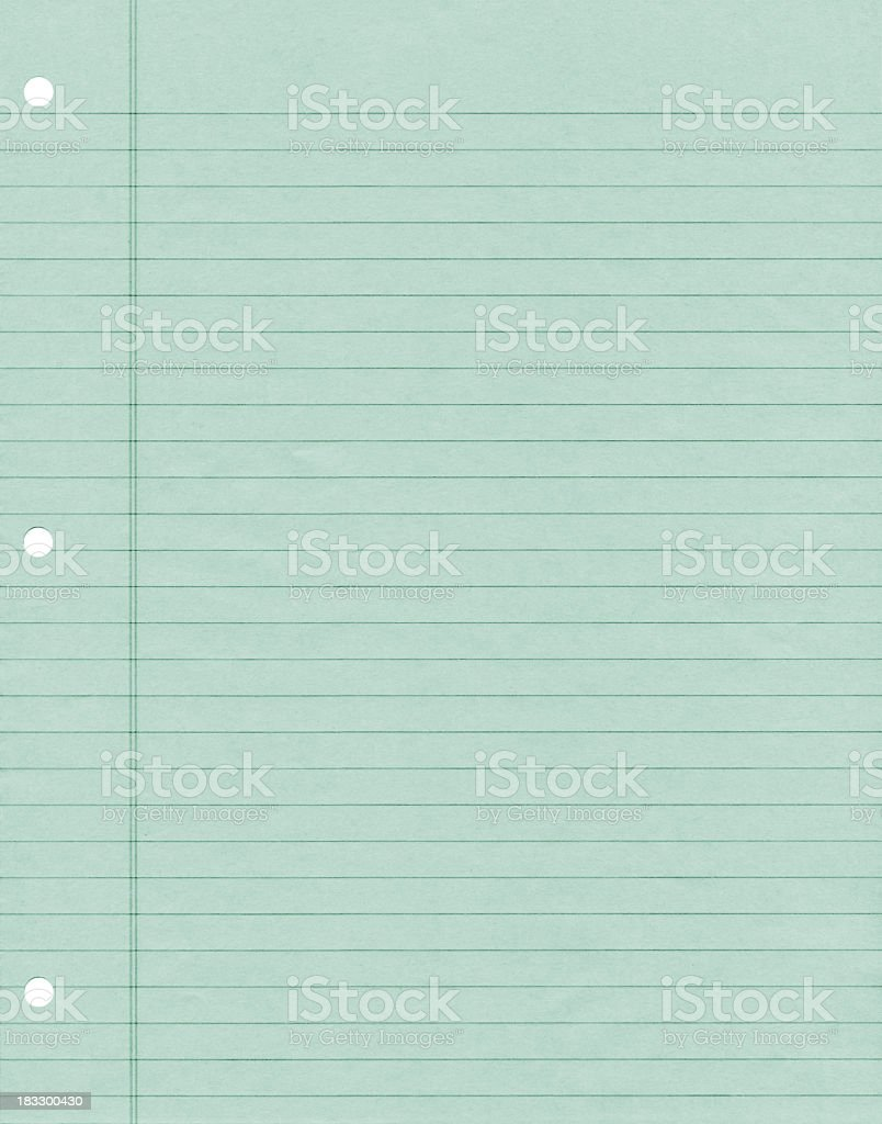 Green Ruled Note Paper stock photo