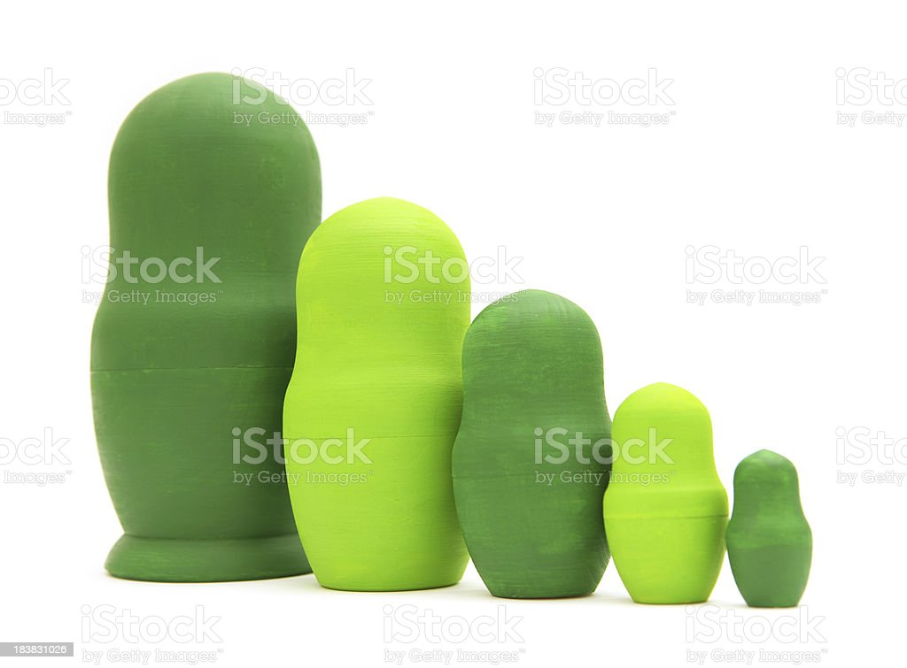 Green Russian Nesting Dolls stock photo