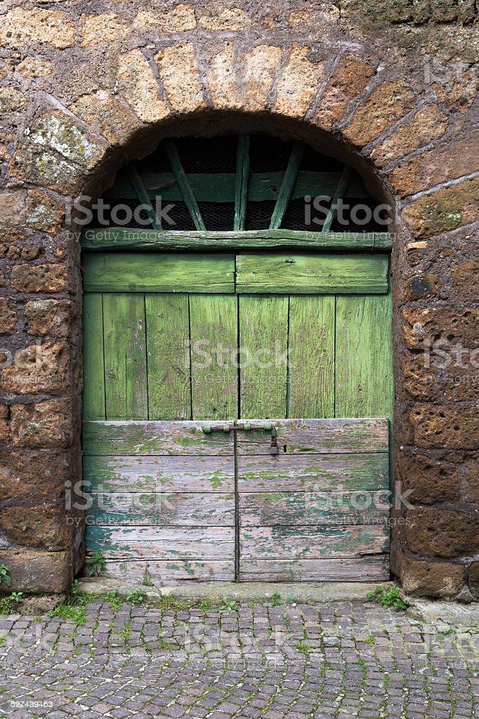 Green rustic doorway stock photo