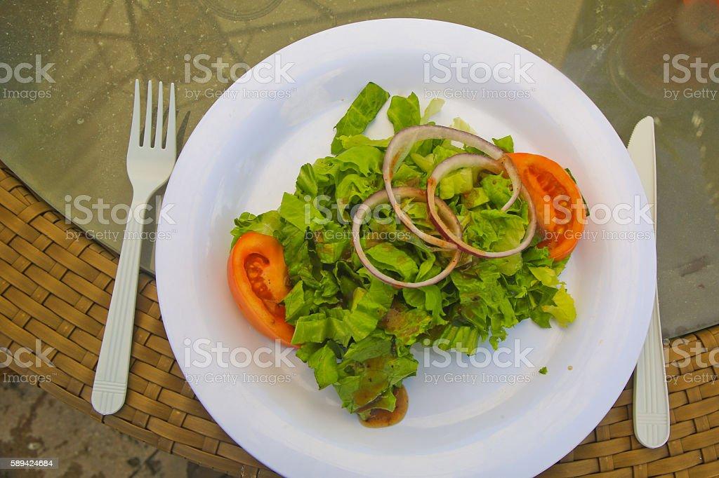 Green Salad, Waves Retaurant, Grand Lacayan, Bahamas stock photo