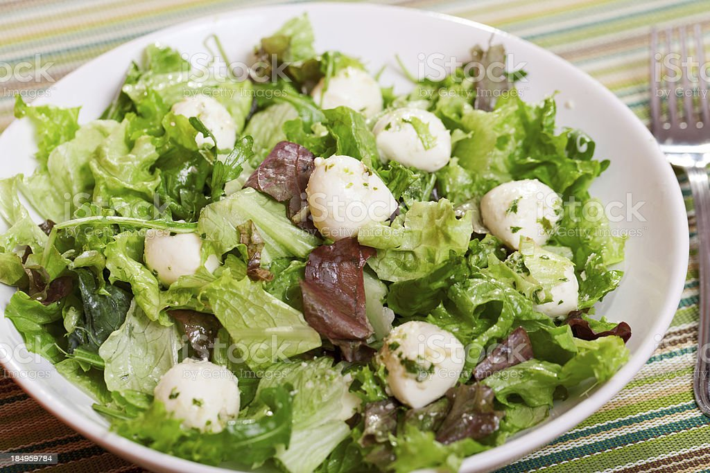 Green salad with baby mozzarella royalty-free stock photo