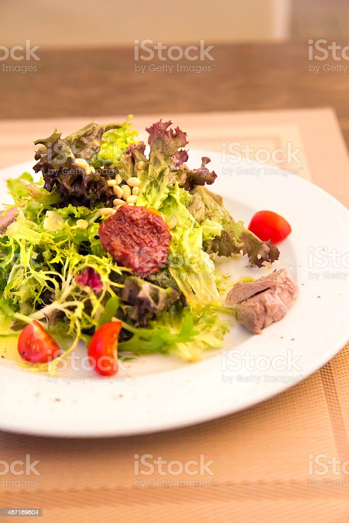 Green salad with chicken meat, dried tomatoes and pine nuts stock photo