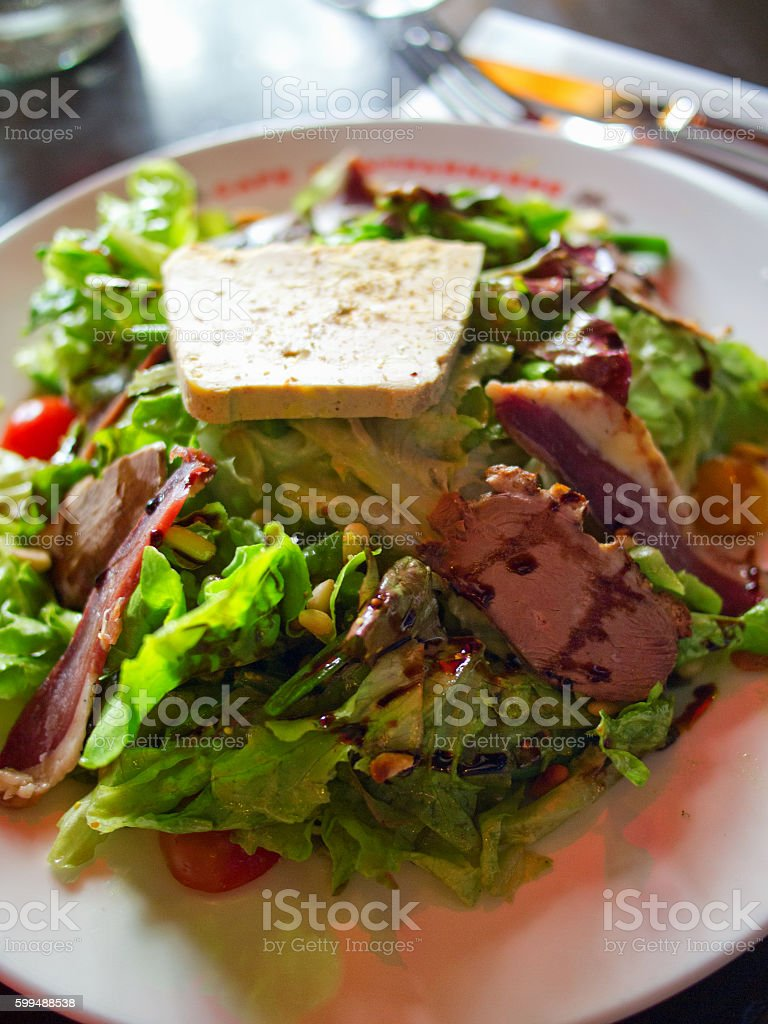 Green salad with duck magret stock photo