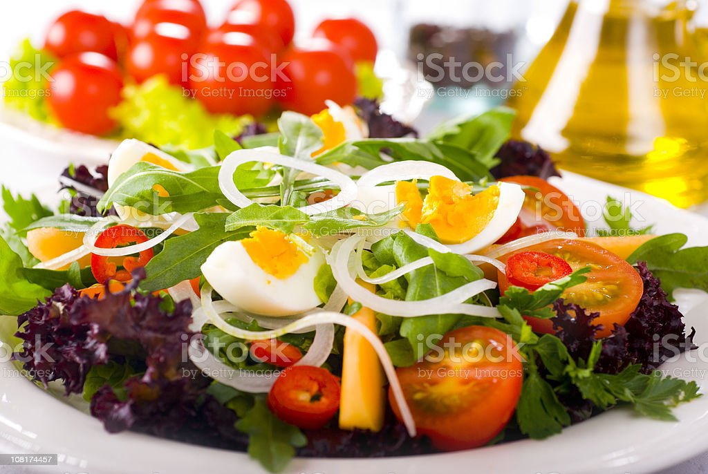 Green Salad with Egg and Tomatoes stock photo